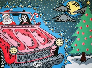 """Santa & Death Drive Up & Down My Neighborhood In A Convertible."""