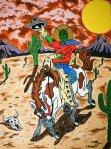 "Steve Stones' ""Locust Cowboy"", grasshopper cowboy"
