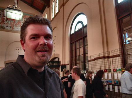 Ogden Artist Steve Stones at Ogden Union Station's 2012 Secret Art Exhibit