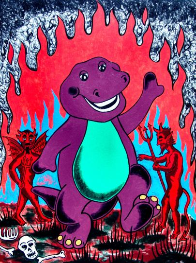Ogden artist Steve Stones painted a parody of Barney the Dinosaur dancing in hell.