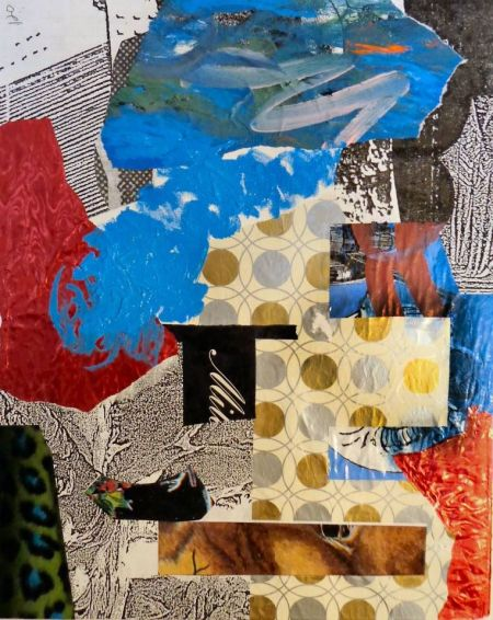 "Utah artist Steve Stones, local of Ogden, painted ""Texture/Pattern Study #V."" 2014. Acrylic & collage on canvas. 20 x 16 inches"