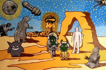 """Utah - A Life Uplifted By Godzilla, Gort, Gamera & Friends."" 2014. Acrylic & collage on canvas. 24 x 36 inches. By Steve Stones, Utah artist, moab, arches"