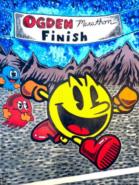 """Pac-Man Marathon Runner."" 2013. Acrylic on canvas. 48 x 36 inches."