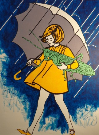 The Morton Salt Girl Carrying a Giant Locust by Steve Stones.