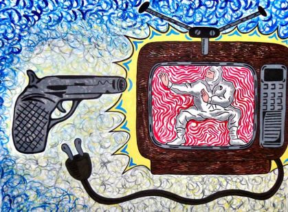 """Kill Your Television."" 2013. Acrylic on canvas. 36 x 48 inches. by steve stones"