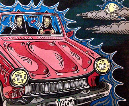 Death drives up and down my neighborhood in a convertible by ogden utah artist steve