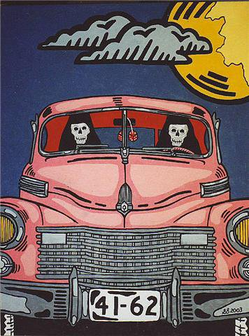 """Death Driving A 1941 Cadillac."" by Ogden Utah artist Steve Stones"
